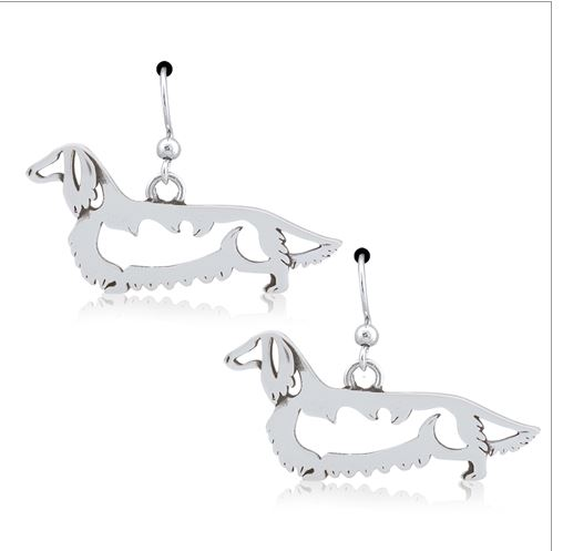 Sterling Silver Longhaired Dachshund Leverback Earrings, Body