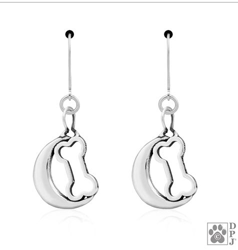 Sterling Silver Bark at the Moon Earrings French Hooks