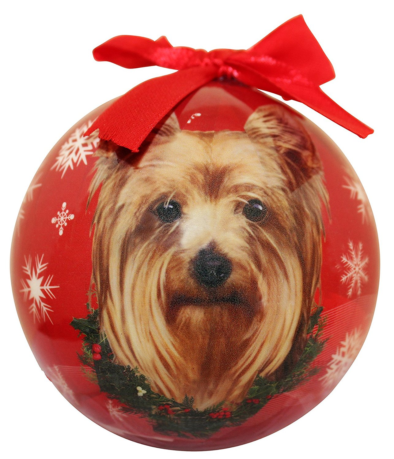 Yorkie Christmas Ornament Shatter Proof Ball