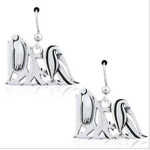 Sterling Silver Maltese Earrings, Showcut Body