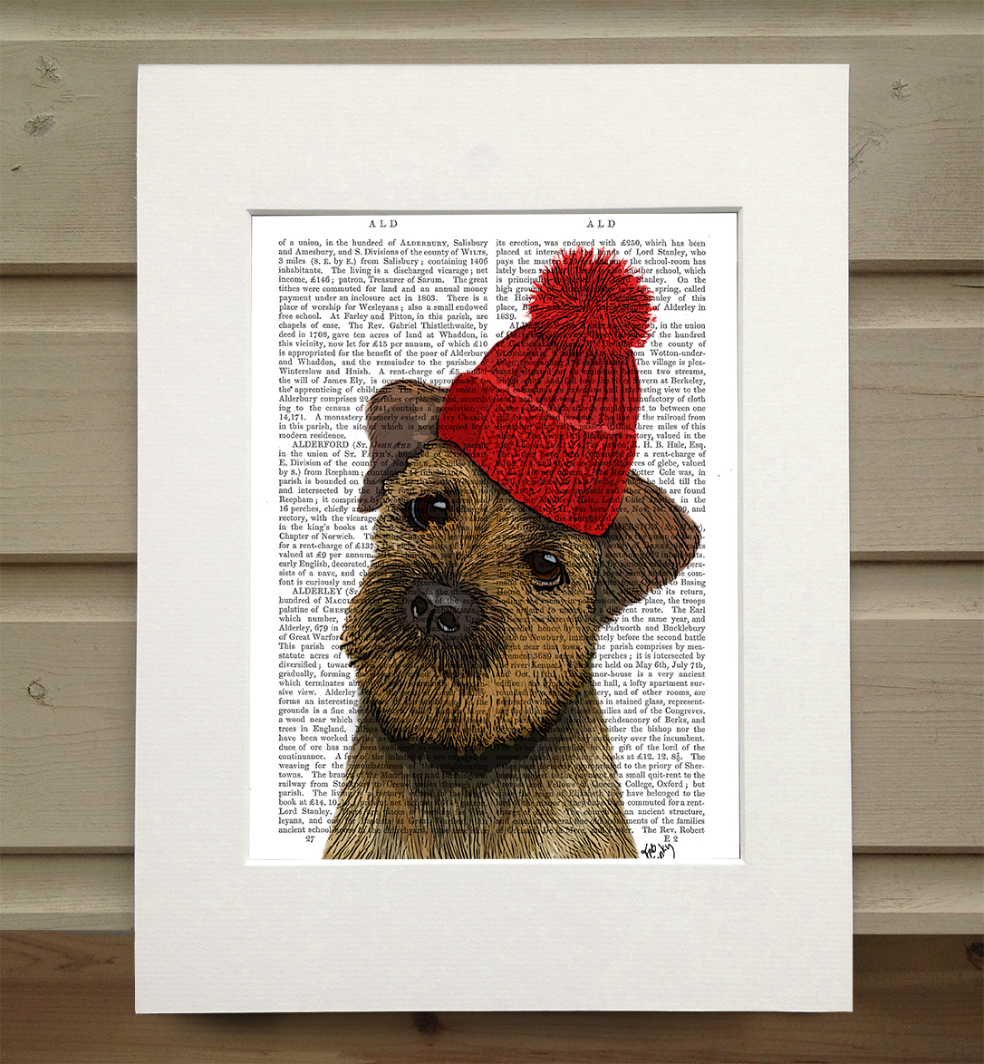Border Terrier with Red Bobble Hat, Book Print