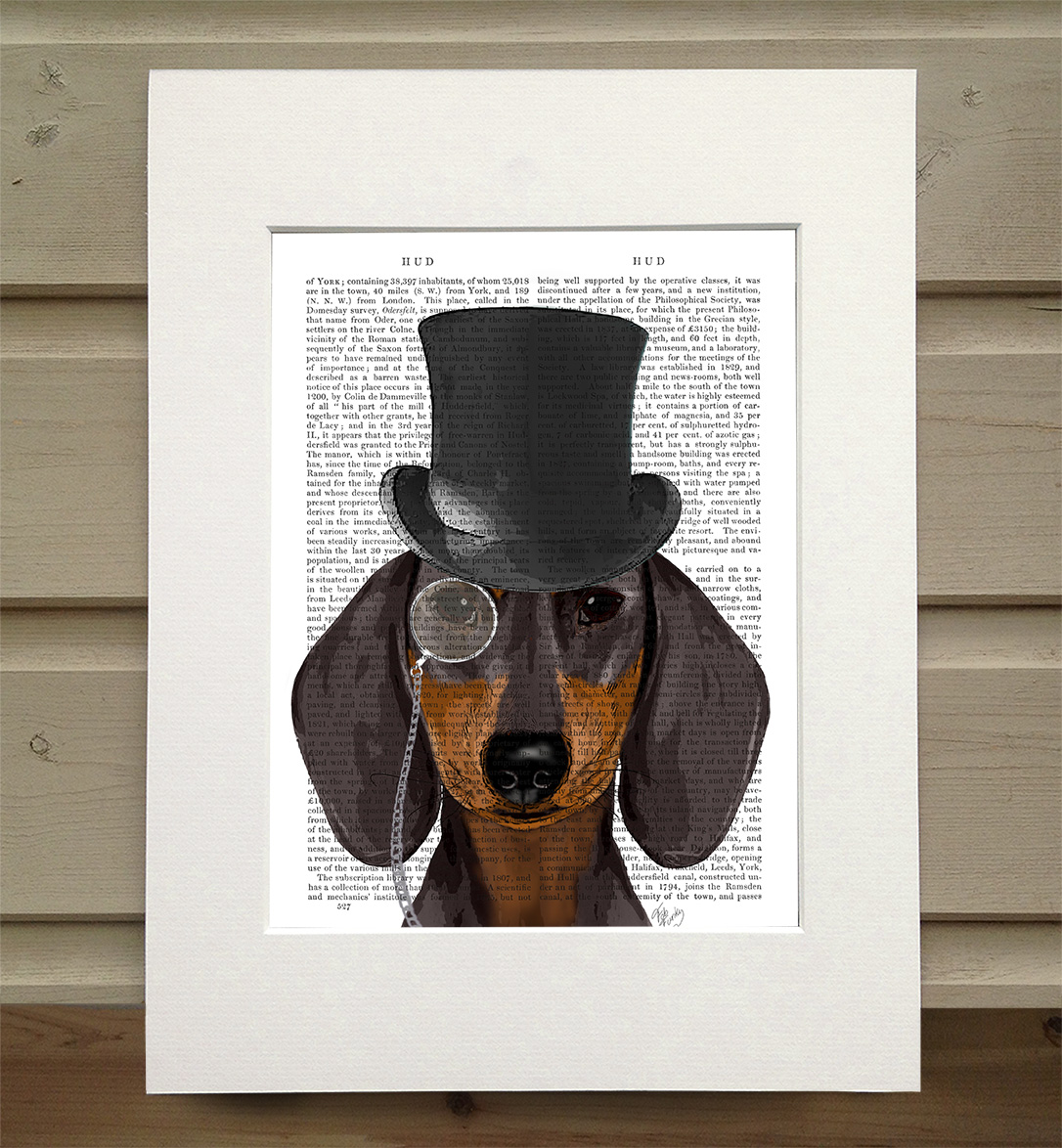 Dachshund, Formal Hound and Hat, Book Print