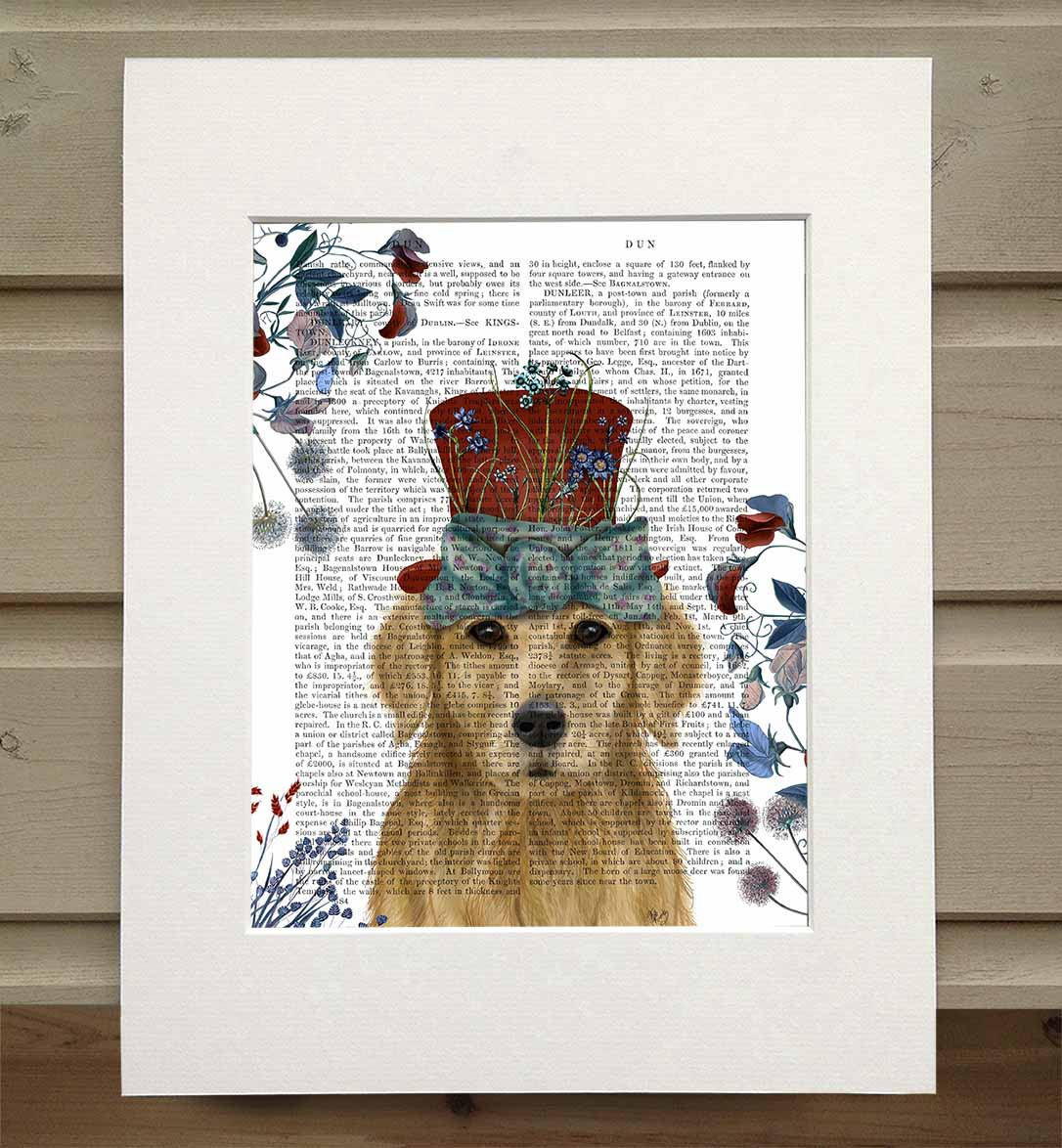 Golden Retriever Milliners Dog, Book Print