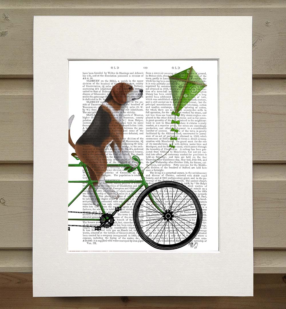 Beagle on Bicycle, Book Print