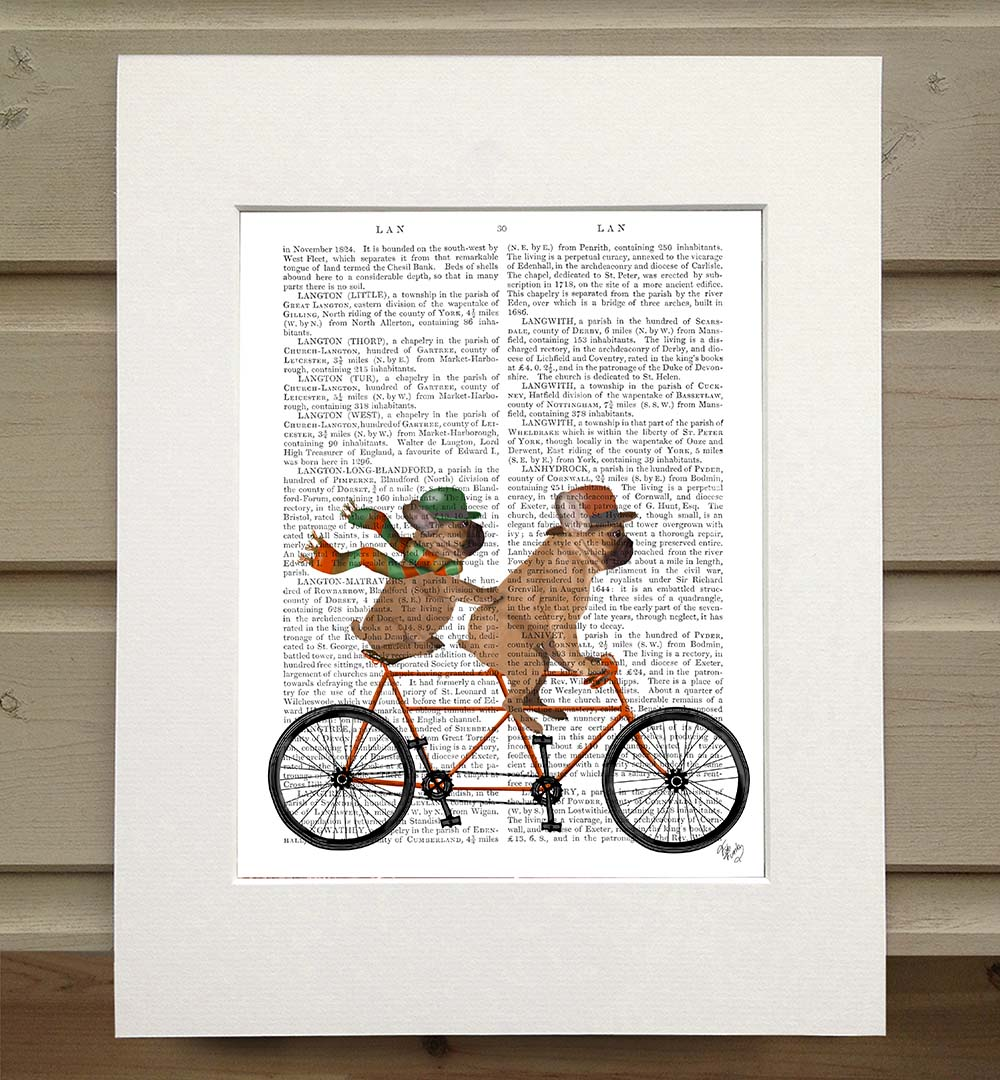 French Bulldog Tandem, Book Print
