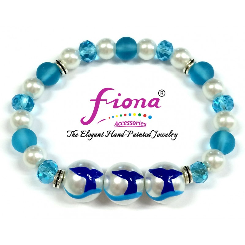 Luxury Painted Whale Tail Glass & Crystal Stretch Bracelet