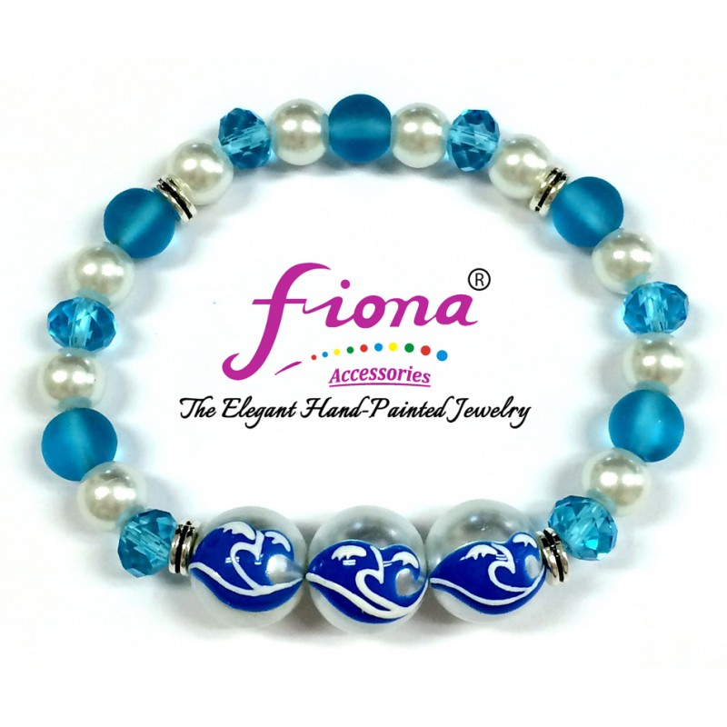 Luxury Painted Surf Waves Glass & Crystal Stretch Bracelet