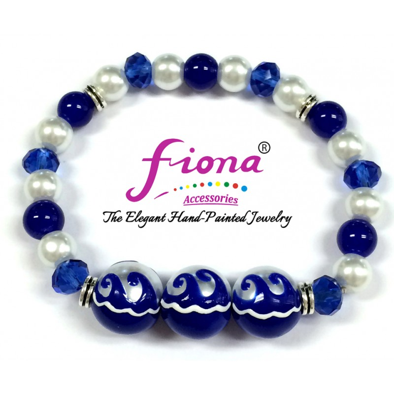 Luxury Painted Blue Waves Glass & Crystal Stretch Bracelet