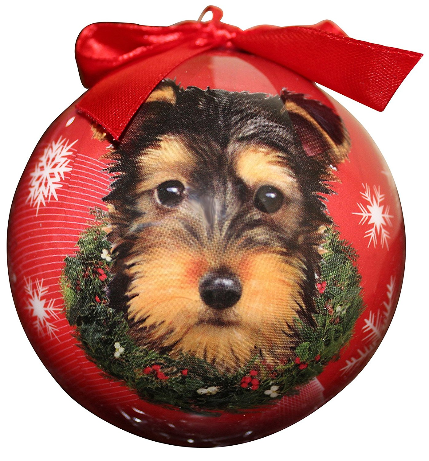 Yorkie Pup Christmas Ornament Shatter Proof Ball