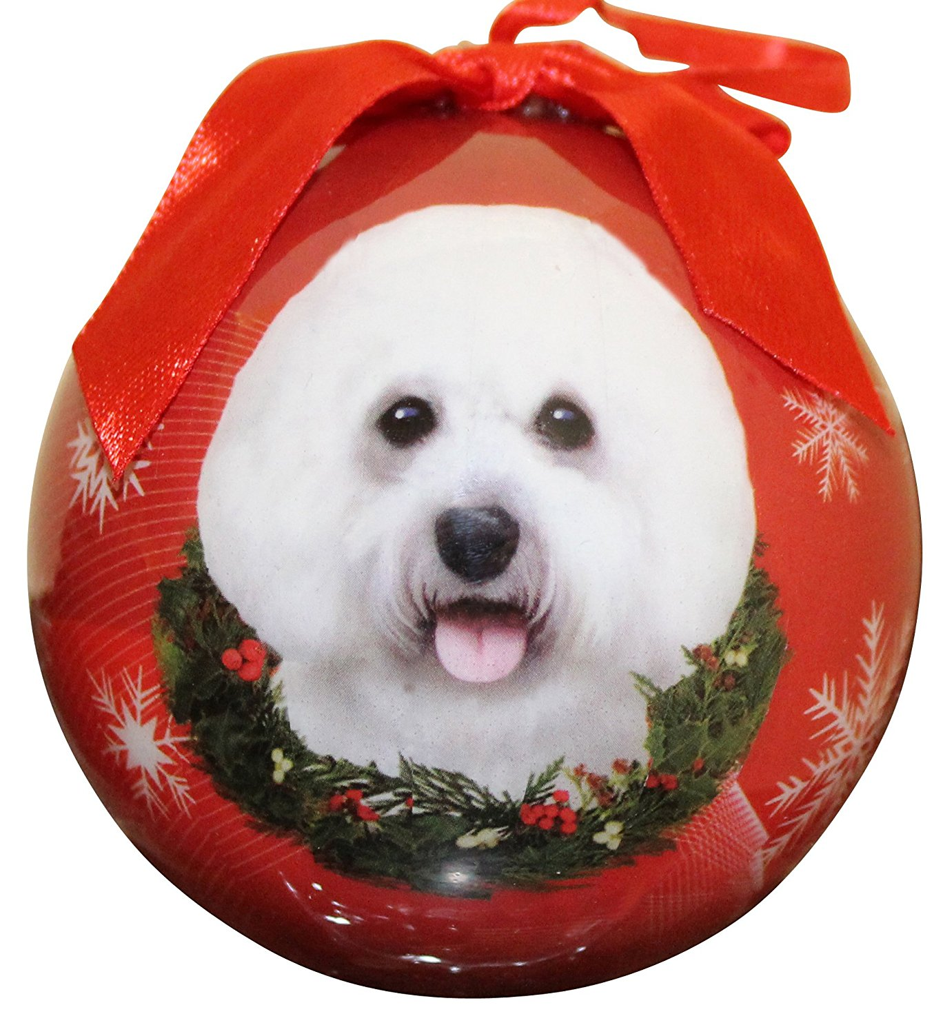Bichon Frise Christmas Ornament Shatter Proof Ball