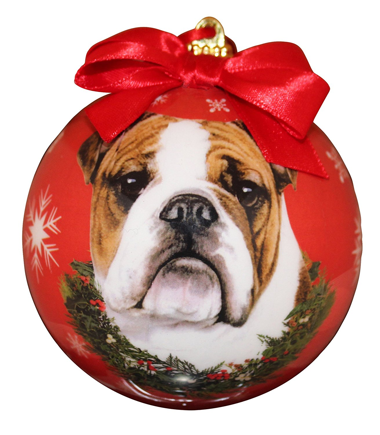 Bulldog Christmas Ornament Shatter Proof Ball