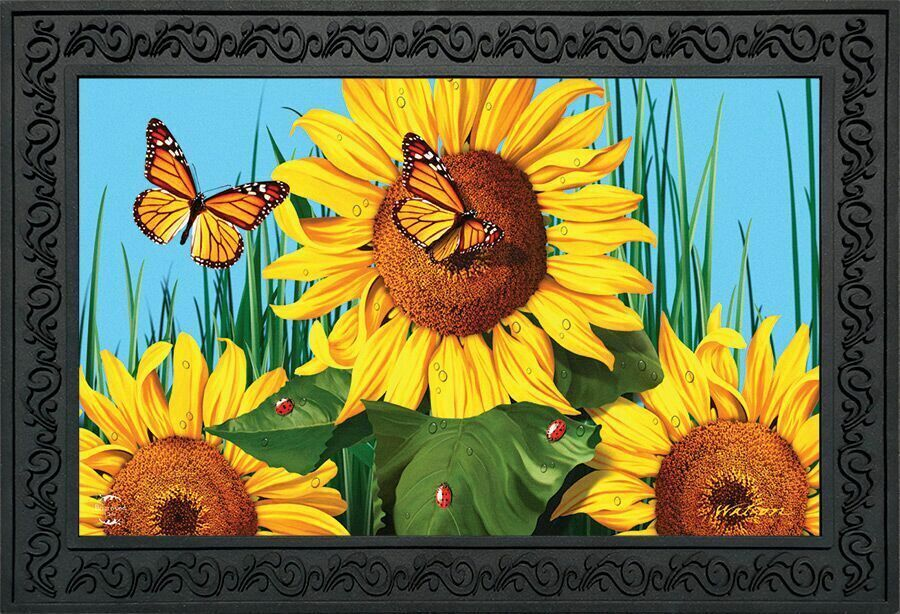 Sunflower Field Summer Doormat Butterflies Floral