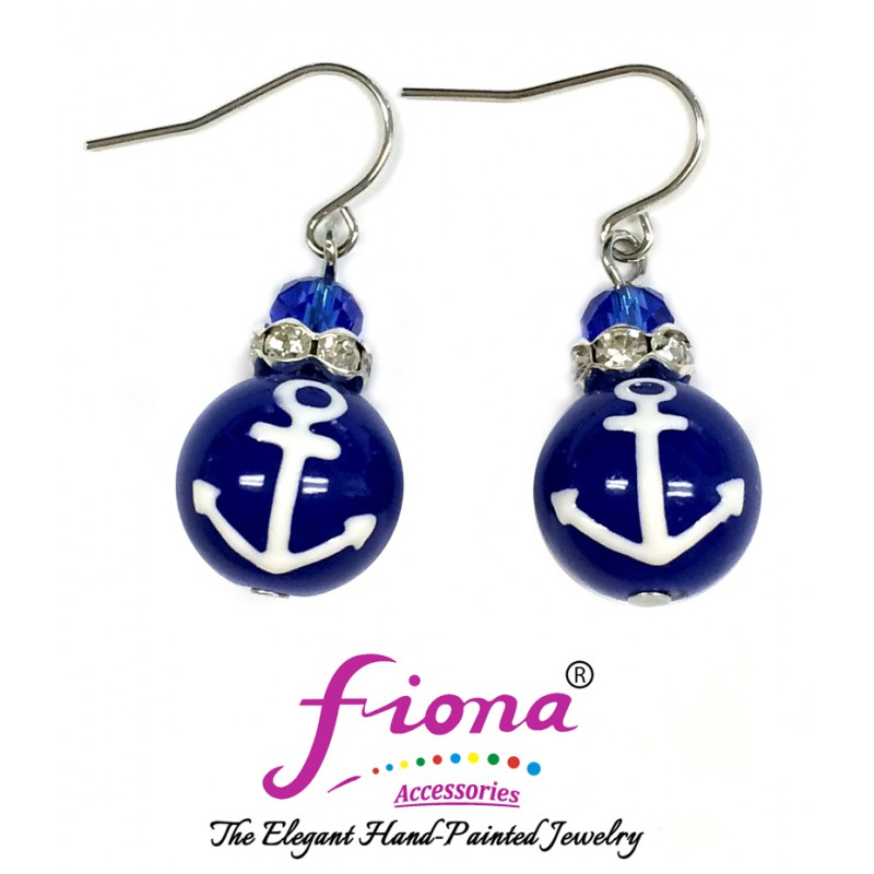 Luxury Painted Blue Anchors Glass Earrings -