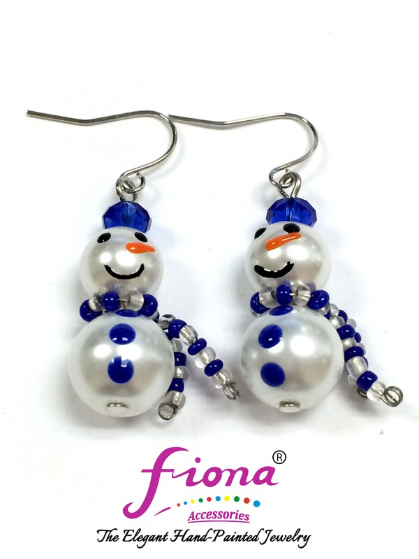 Painted Glass Beaded Snowman & Beaded Scarf Earrings