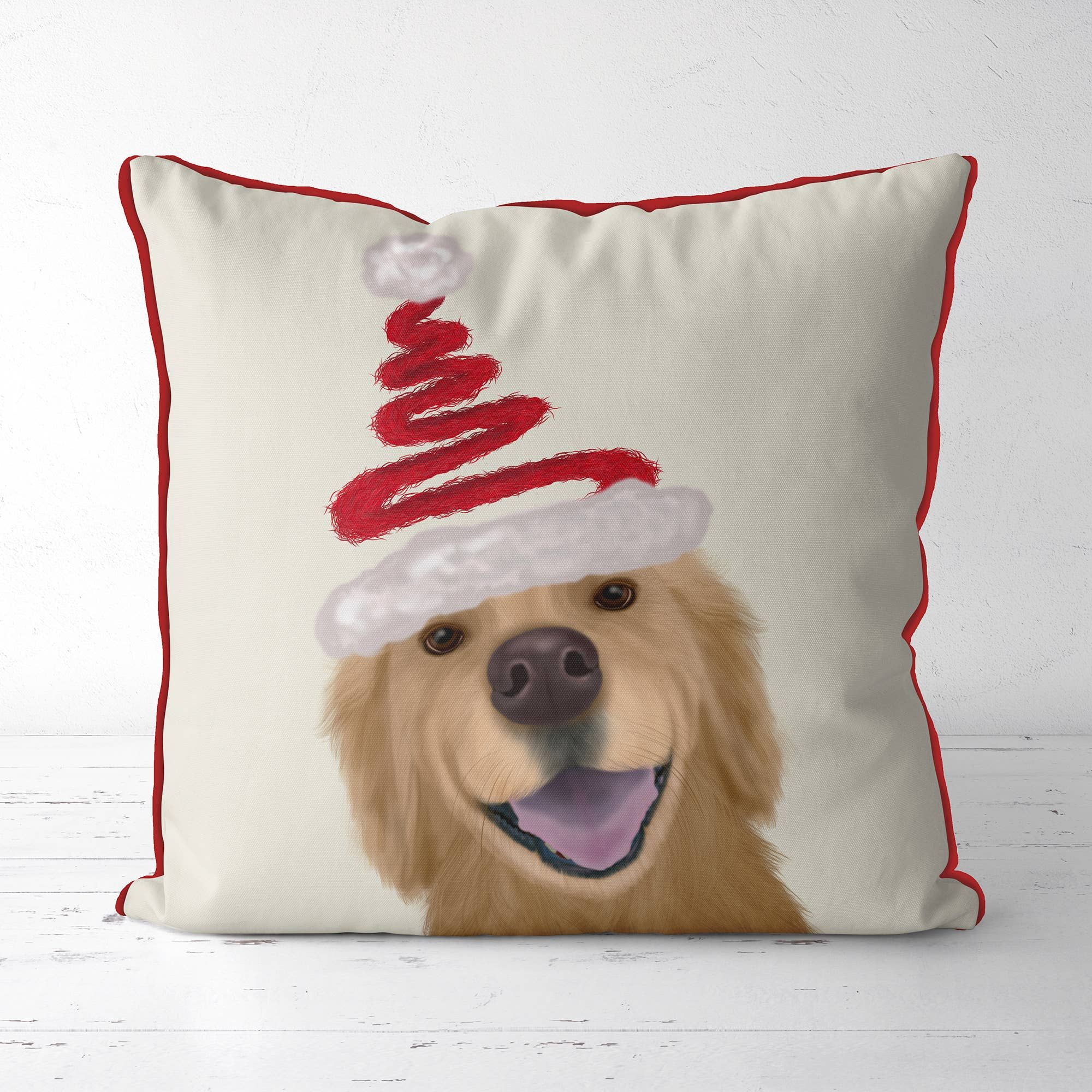 Golden Retriever and Spring Santa Hat Christmas Pillow