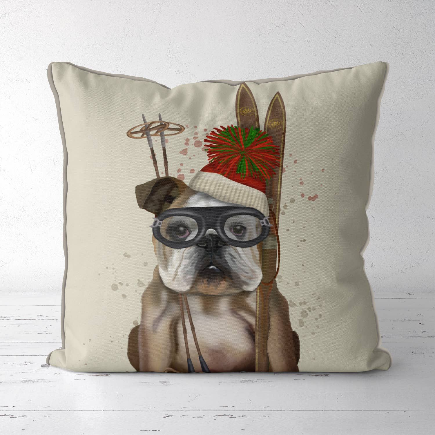 English Bulldog, Skiing Pillow