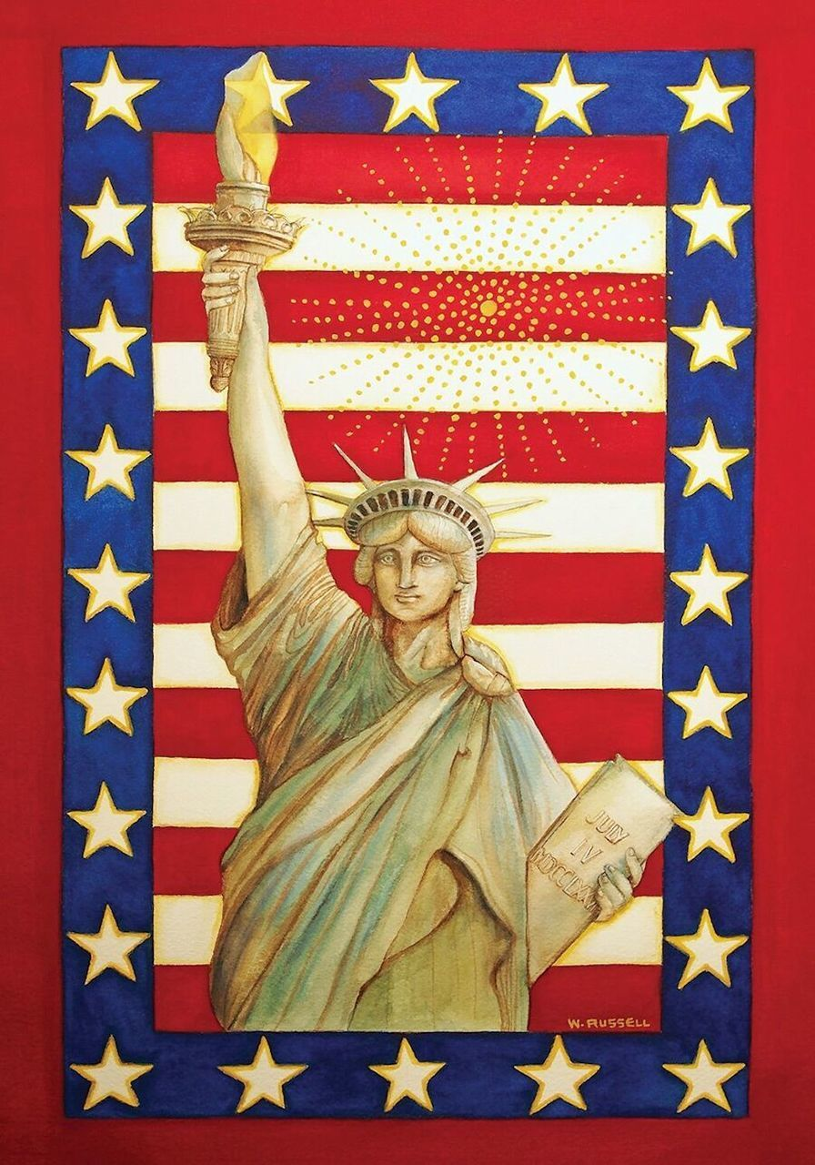 Lady Liberty Patriotic House Flag Fourth of July Statue of Liber