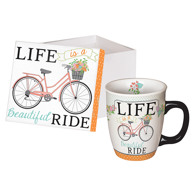 Bicycle Life is a Beautiful Ride 14 ounce Ceramic Coffee Mug