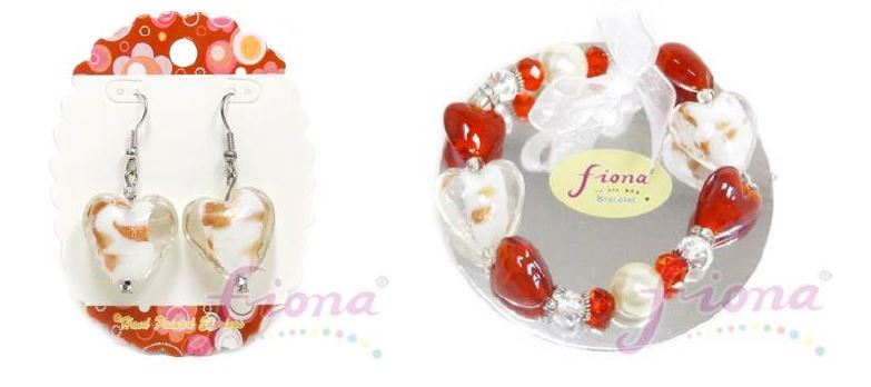 PUP11-3 Heart Murano Glass & Crystal Stretch Bracelet