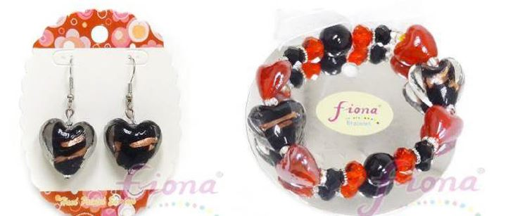 PUP11-4 Heart Murano Glass & Crystal Stretch Bracelet