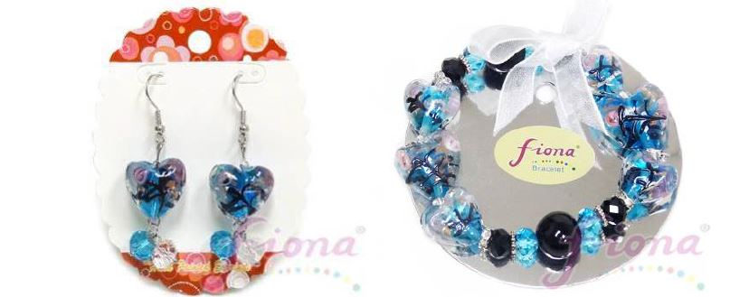PUP11-6 Heart Murano Glass & Crystal Stretch Bracelet