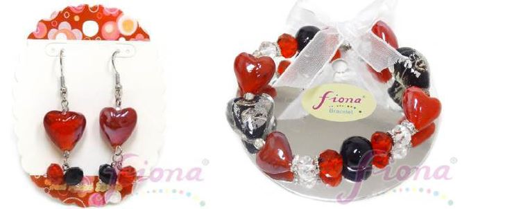 PUP11-1 Heart Murano Glass & Crystal Stretch Bracelet
