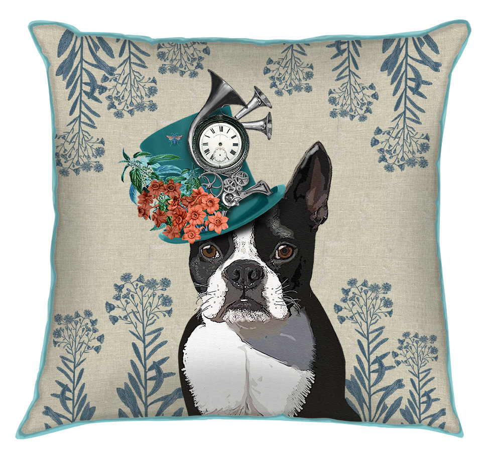 Boston Terrier Milliners Dog Pillow