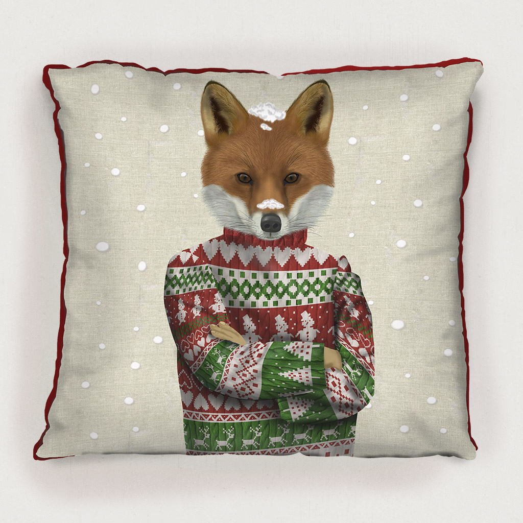Fox in Christmas Sweater Pillow