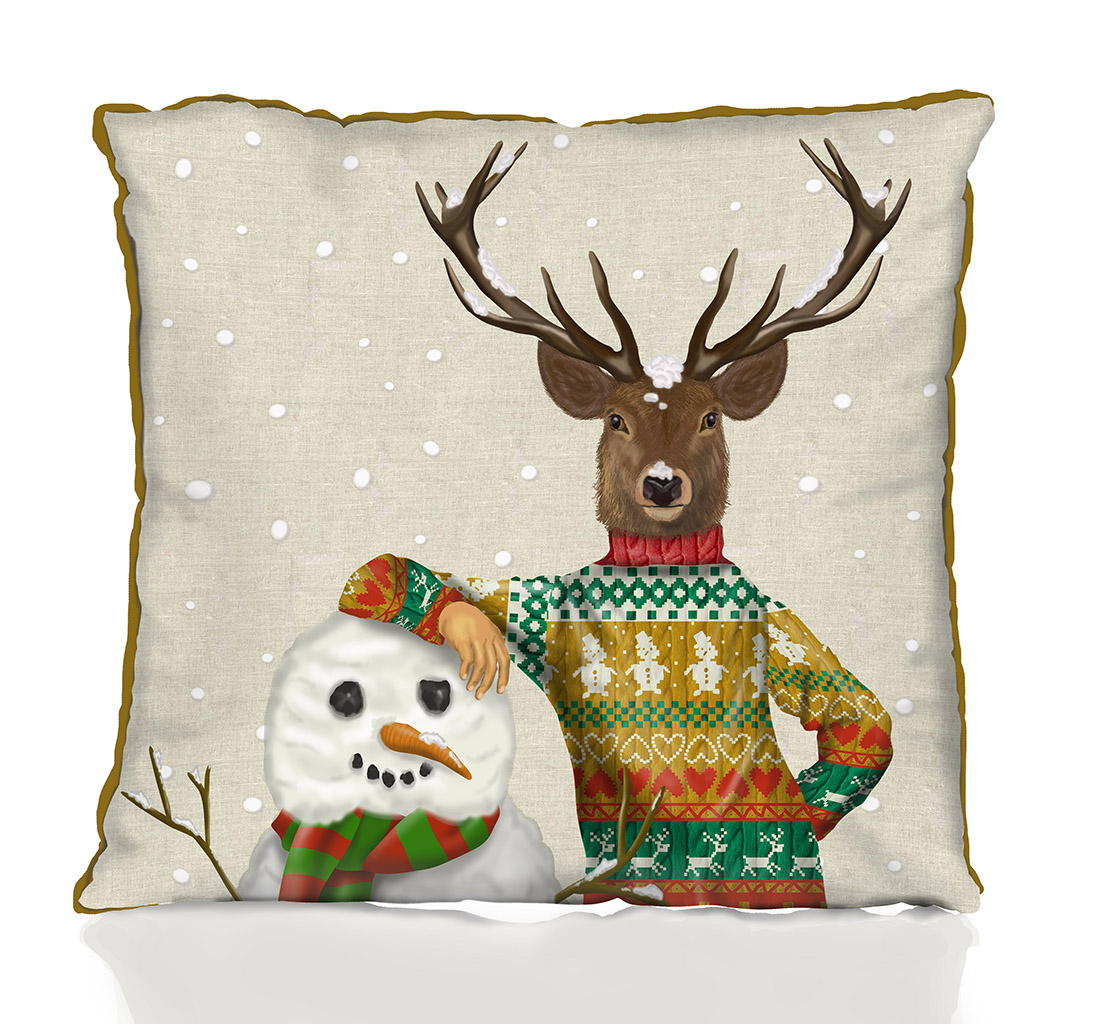 Deer in Christmas Sweater with Snowman Pillow