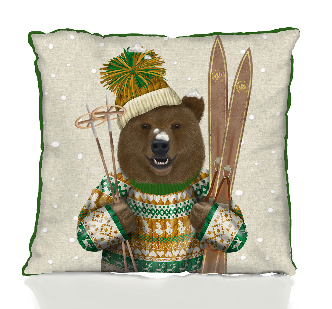 Bear in Christmas Sweater Pillow