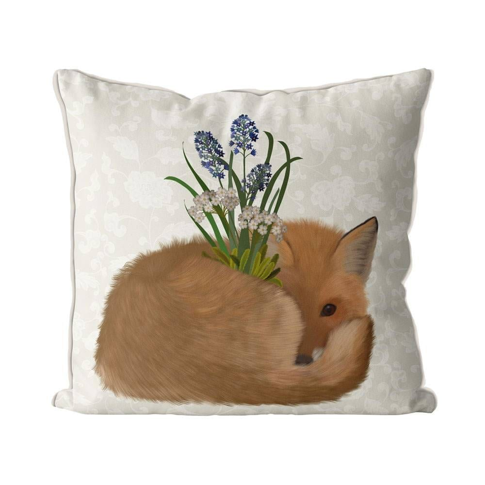 Fox Bohemian Curled, Cream Back Pillow