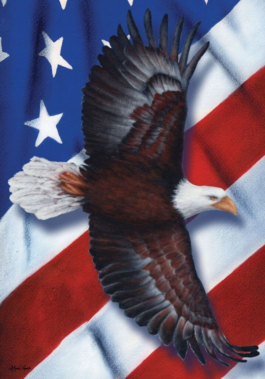 "Patriotic Eagle Fourth of July House Flag Soaring USA 28"" x 40"""