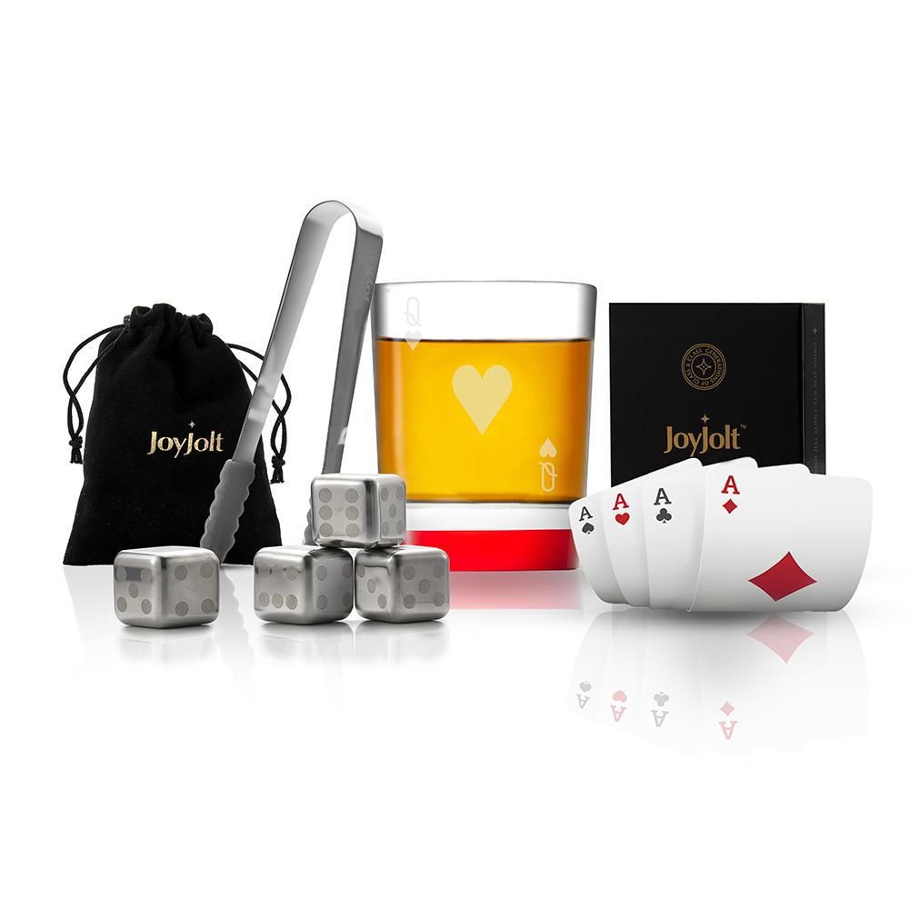 Poker Queen of Hearts Whiskey Glass Gift Set