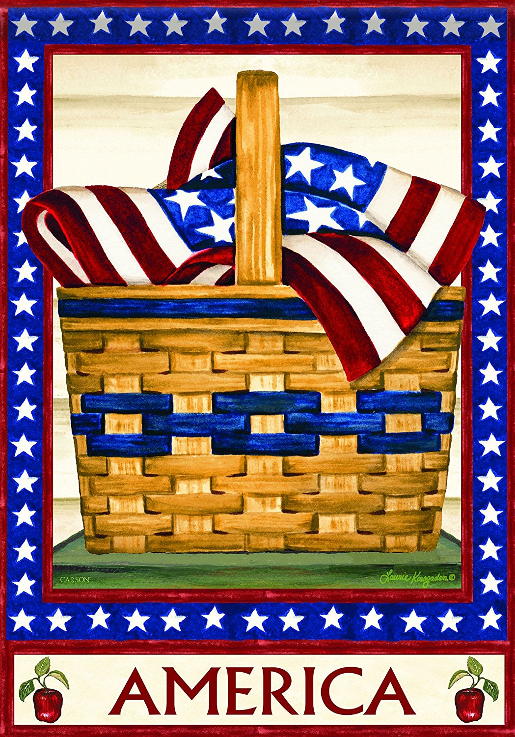 Carson Home Accents Garden Flag, America Basket