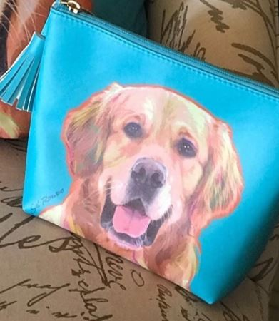 Golden Retriever Faux Leather Zipper Bag