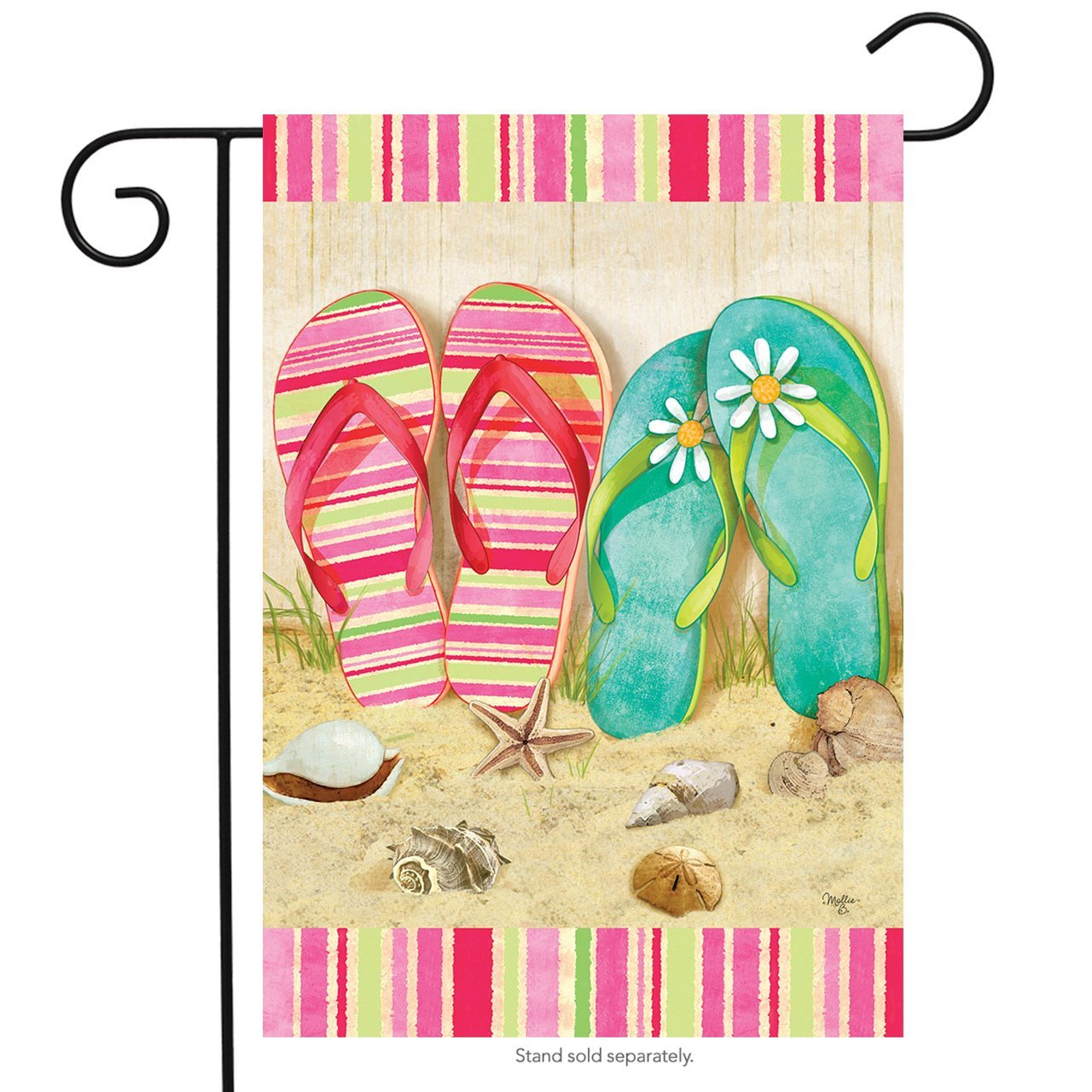 Flip Flop Summer Garden Flag Seashells Beach Starfish