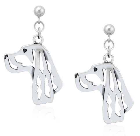 Sterling Silver Gordon Setter Earrings, Head