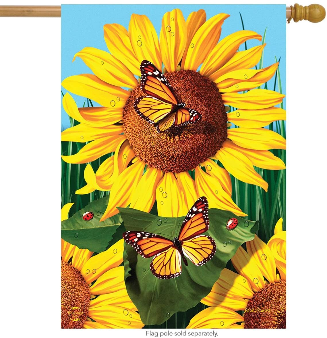 Sunflower Field Summer House Flag Butterflies Floral