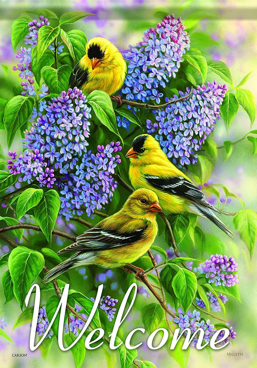 Carson Home Accents Garden Flag, Goldfinches and Lilacs