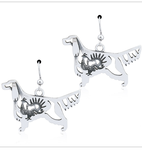 Sterling Silver Gordon Setter w/Grouse Earrings, Body