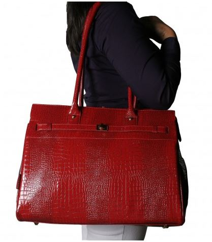Embossed Croco Monaco Totes Red