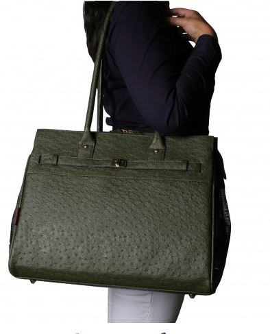 Embossed Ostrich Olive Monaco Totes