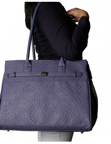 Embossed Ostrich Periwinkle Monaco Totes