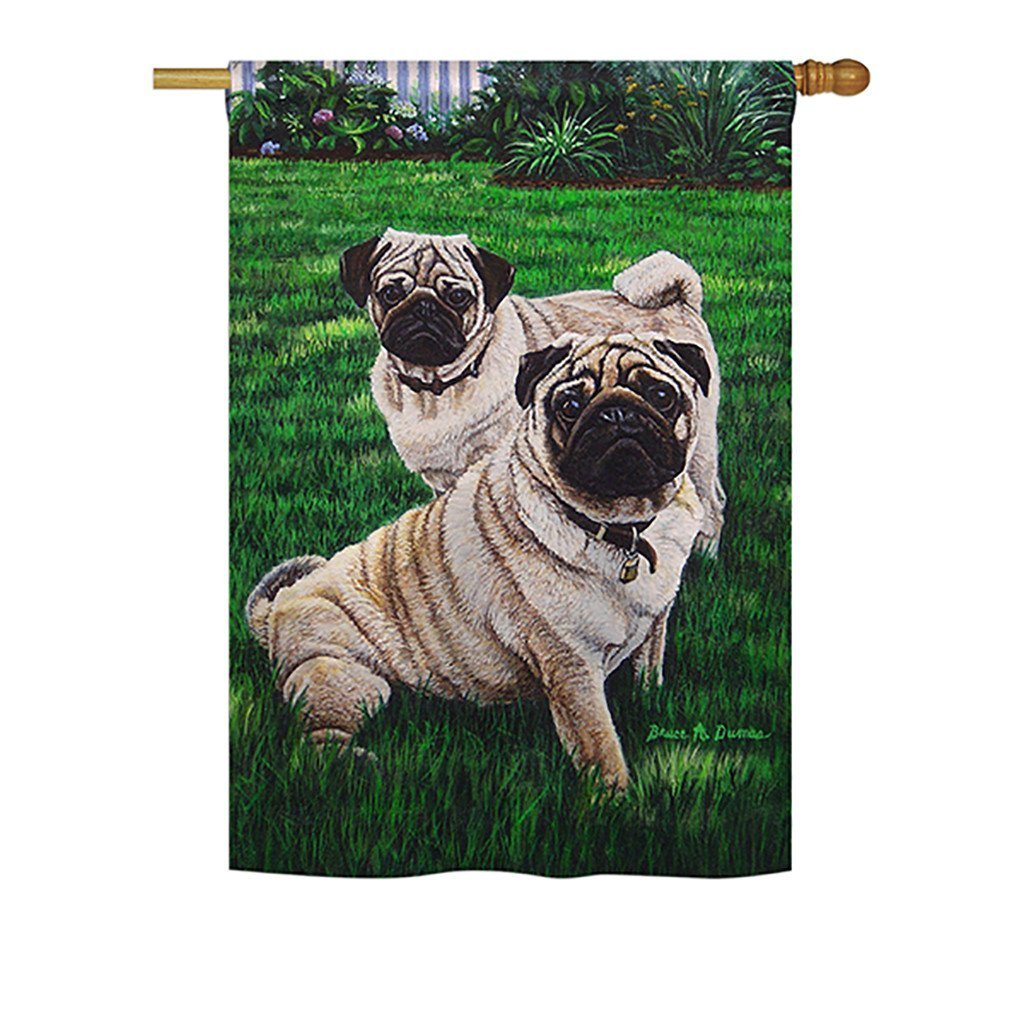 "Pugs Love Large Flag 28""x 40"""