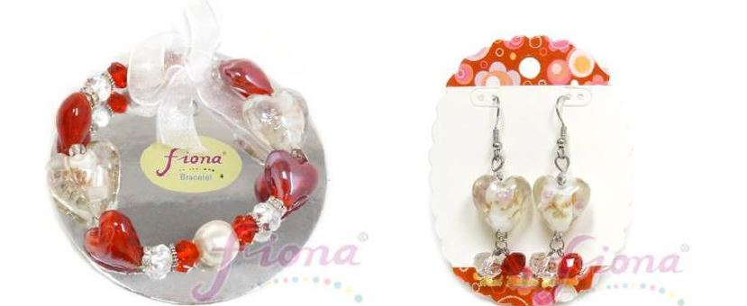 PUP10-1 Heart Murano Glass & Crystal Stretch Bracelet