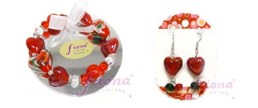 PUP10-2 Heart Murano Glass & Crystal Stretch Bracelet