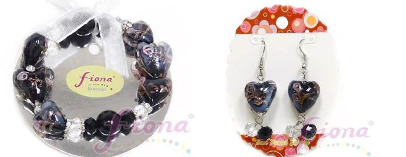 PUP10-3 Heart Murano Glass & Crystal Stretch Bracelet
