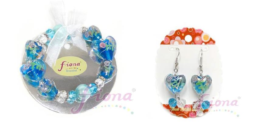 PUP10-5 Heart Murano Glass & Crystal Stretch Bracelet