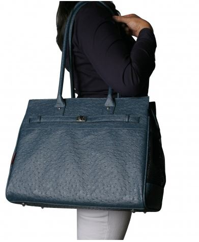 Embossed Ostrich Wedgwood Blue Monaco Totes