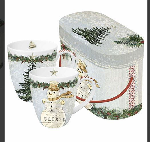 WINTER LODGE SNOWMAN DOUBLE MUG SET